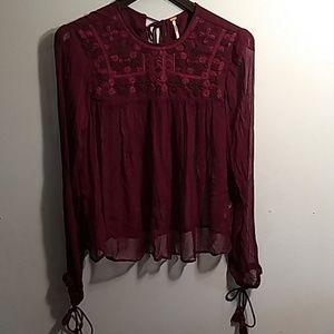 Free People sheer burgundy blouse Size Medium